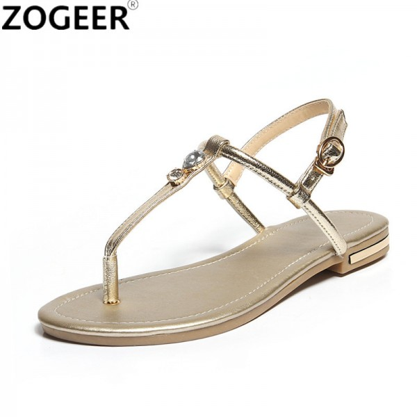 Flat Heel Women Sandals Genuine Leather Flip Flops Women Shoes Gladiator Casual Flat Sandal Woman white gold