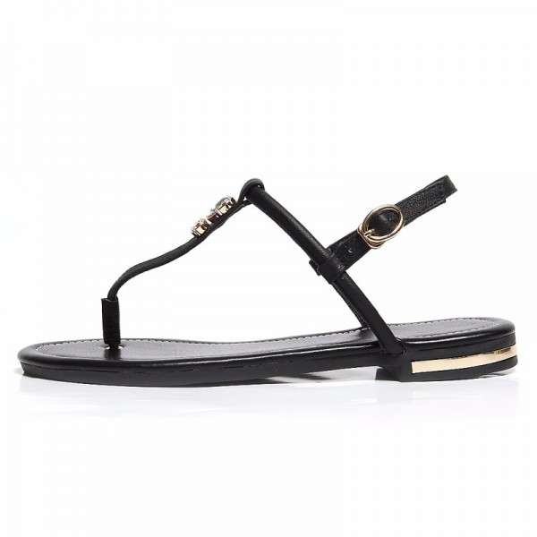 Flat Heel Women Sandals Genuine Leather Flip Flops Women Shoes Gladiator Casual Flat Sandal Woman white gold Extra Image 1