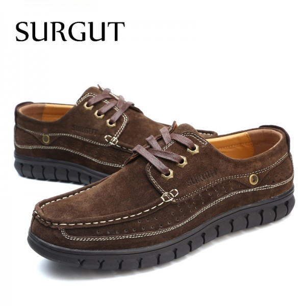 Flat Shoes Men Oxford Shoes British Fashion Suede Cow Split Leather Breathable Comfortable Business For Men Shoes