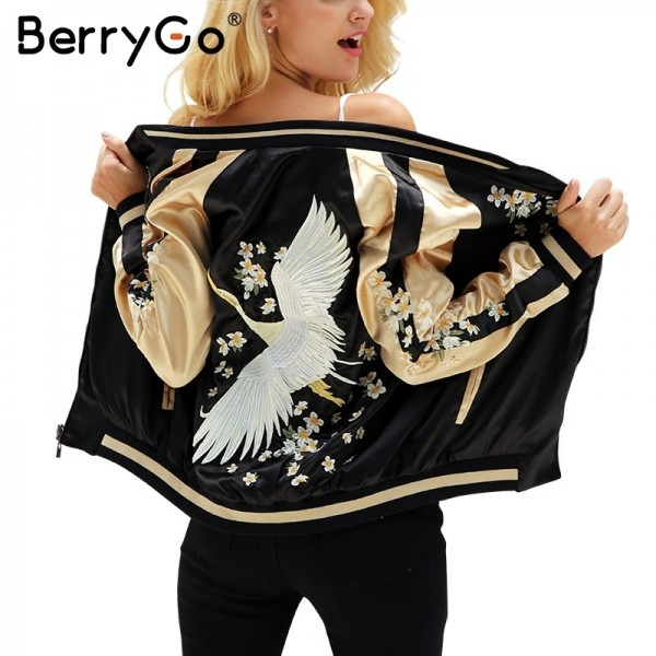 Floral embroidery satin jacket coat Autumn winter street jacket women Casual baseball jackets reversible sukajan