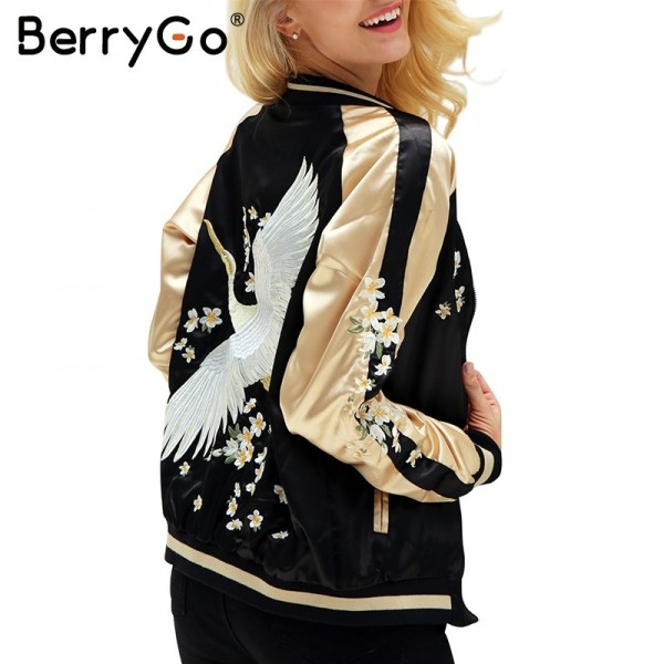 Floral embroidery satin jacket coat Autumn winter street jacket women Casual baseball jackets reversible sukajan Extra Image 3