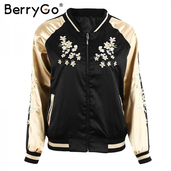Floral embroidery satin jacket coat Autumn winter street jacket women Casual baseball jackets reversible sukajan Extra Image 4