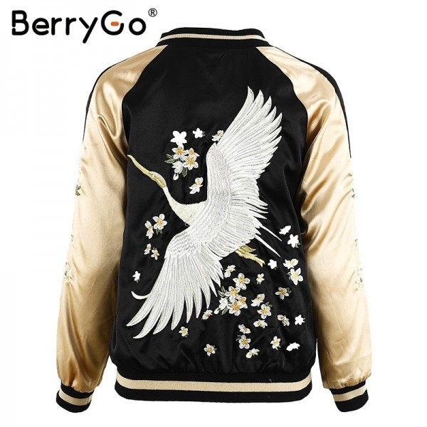 Floral embroidery satin jacket coat Autumn winter street jacket women Casual baseball jackets reversible sukajan Extra Image 5
