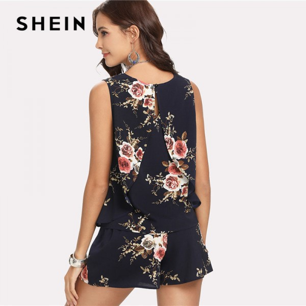 Floral Print Overlap Back Top Shorts Set Women Round Neck Sleeveless Button 2 Pieces Sets 2018 Summer Boho Style Extra Image 1