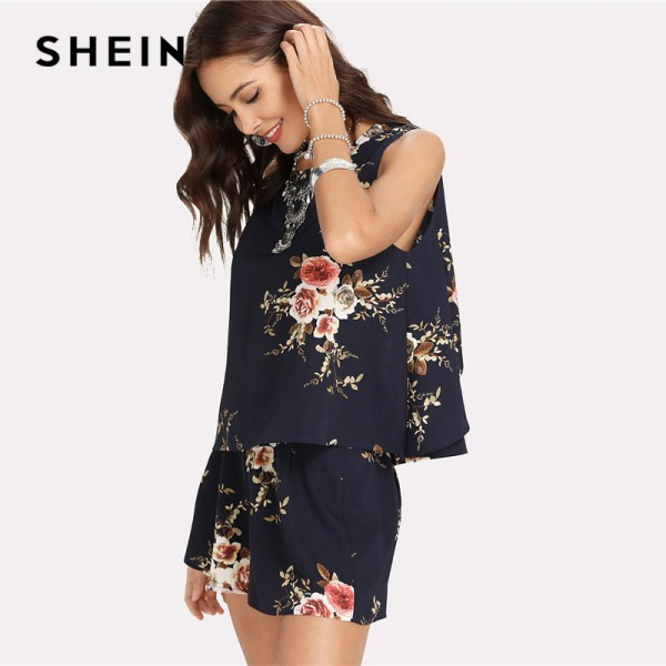 Floral Print Overlap Back Top Shorts Set Women Round Neck Sleeveless Button 2 Pieces Sets 2018 Summer Boho Style Extra Image 2