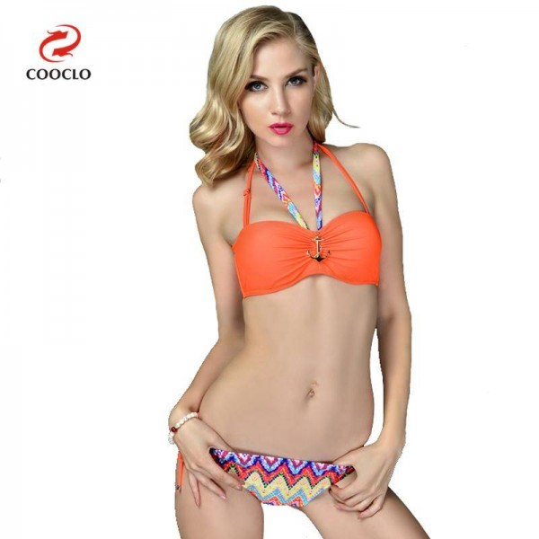 Floral Print Women Swimwear Bandeau Top Multi Coloured Striped Bikini Set Girls Swimsuits Beachsuits Extra Image 0