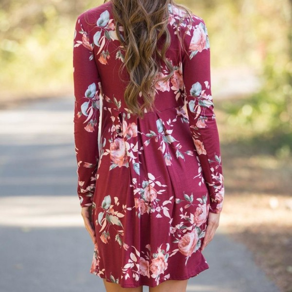 Floral Printed Summer Dress For Women Long Sleeve Boho Dress Round Neck Cute Shift Dress Summer Style Outfits Extra Image 3