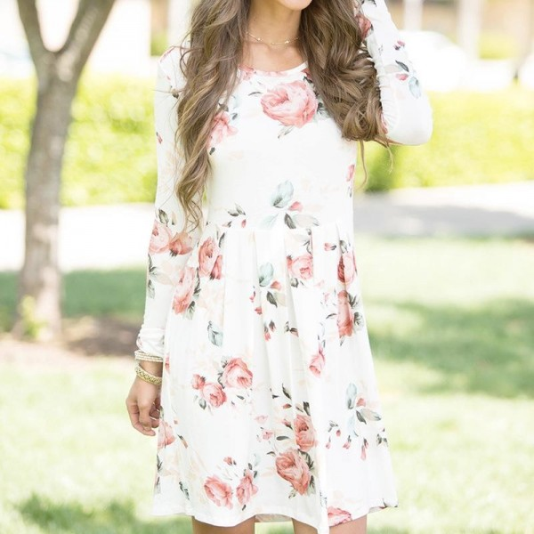 92a7dbb6736 Buy Floral Printed Summer Dress For Women Long Sleeve Boho Dress Round Neck  Cute Shift Dress Summer Style Outfits