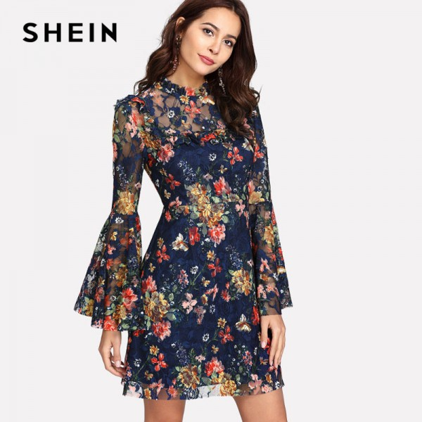 Flower Printed A Line Summer Dress For Women 2018 Arrival Spring Bell Sleeved Summer Dress For Ladies Extra Image 1