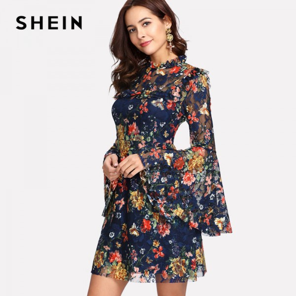 Flower Printed A Line Summer Dress For Women 2018 Arrival Spring Bell Sleeved Summer Dress For Ladies Extra Image 2