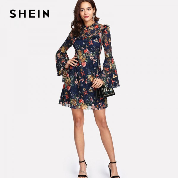 Flower Printed A Line Summer Dress For Women 2018 Arrival Spring Bell Sleeved Summer Dress For Ladies Extra Image 3