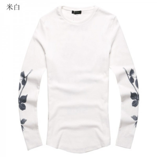 59bed39463 Flower Printed Mens T Shirts 2018 Slim Fit New Arrival Casual T Shirts Long  Sleeve Pullover O Neck Summer Style