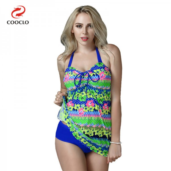 Flower Printed Plus Size Swimsuits For Women Two Piece Tankini Large Cup Comfortable Sexy Tankini