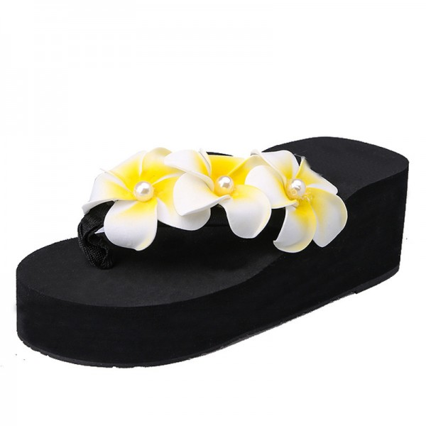 Flower Summer Wedges Platform Women Sandals Casual Beach Shoes Woman Slip On Fashion Flat Slides With 3 Colors Extra Image 2