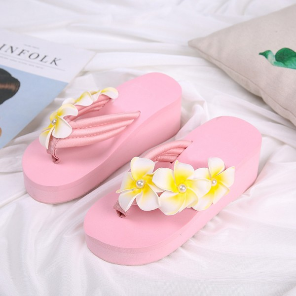 Flower Summer Wedges Platform Women Sandals Casual Beach Shoes Woman Slip On Fashion Flat Slides With 3 Colors Extra Image 4