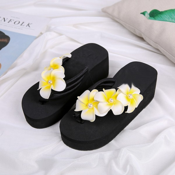 Flower Summer Wedges Platform Women Sandals Casual Beach Shoes Woman Slip On Fashion Flat Slides With 3 Colors Extra Image 5