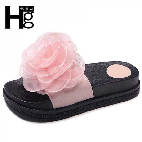 Flower Women Summer Slippers Casual Beach Shoes Woman Slip On Solid Comfort Platform Creepers Size 35 39 Extra Image 1