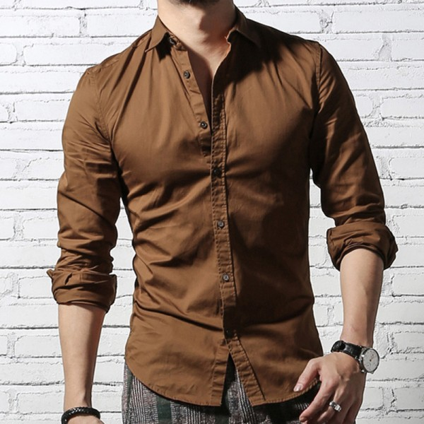 French Cuff Button Men Dress Shirts New spring Luxury Slim Fit Long Sleeve Brand Formal Business Fashion Shirts Extra Image 3