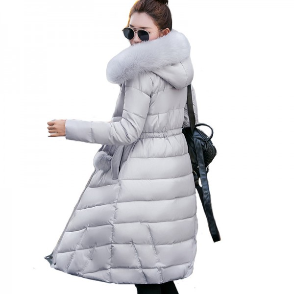 Fur collar long hooded warm thicken cotton padded high quality women winter jacket womens coats parkas jackets Extra Image 1
