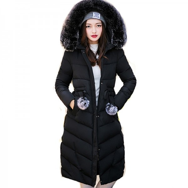 Fur collar long hooded warm thicken cotton padded high quality women winter jacket womens coats parkas jackets Extra Image 2