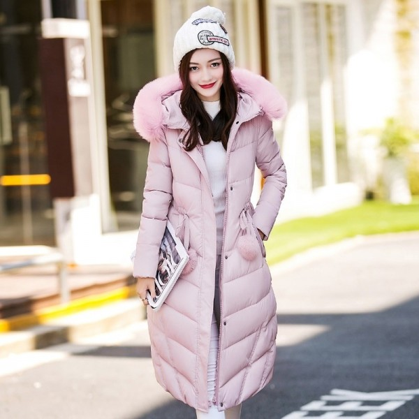 Fur collar long hooded warm thicken cotton padded high quality women winter jacket womens coats parkas jackets
