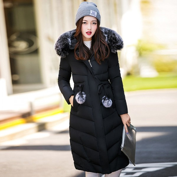 Fur collar long hooded warm thicken cotton padded high quality women winter jacket womens coats parkas jackets Extra Image 3