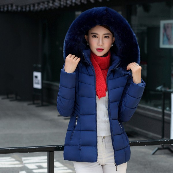 Fur collar winter jacket women autumn cotton padded solid color womens parka with hood high quality female coat 2019 Extra Image 2