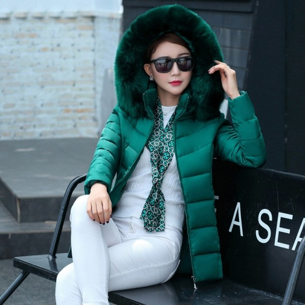 Fur collar winter jacket women autumn cotton padded solid color womens parka with hood high quality female coat 2019