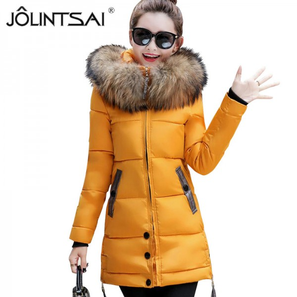 Fur Collar Winter Jacket Women Medium Long Winter Hooded Coat Female Outerwear Parka Ladies Warm Slim