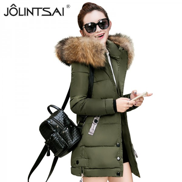 Fur Collar Winter Jacket Women Medium Long Winter Hooded Coat Female Outerwear Parka Ladies Warm Slim Extra Image 2