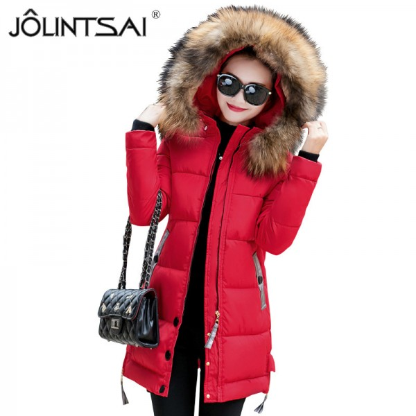 Fur Collar Winter Jacket Women Medium Long Winter Hooded Coat Female Outerwear Parka Ladies Warm Slim Extra Image 4