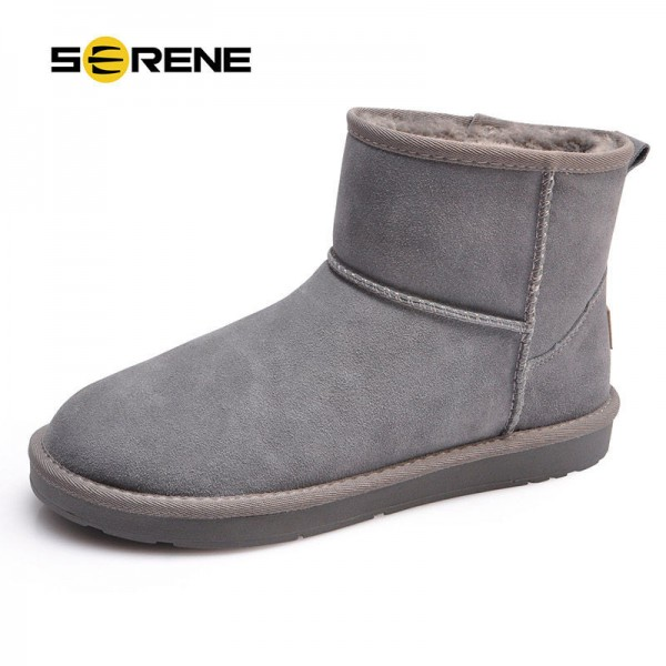 Fur Snow Men Boots Size 38 44 Fashion Suede Slip On Ankle Male Shoes Teenager Non Slip Rubber Sole Footwear Extra Image 1