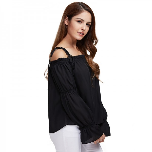 Gamiss Autumn Women Chiffon Blouse Off Shoulder Loose Fit Lantern Sleeve Tops Pure Color Shirt Blouse Elastic Tops Extra Image 2