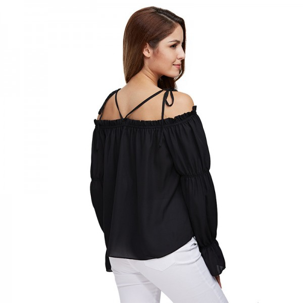 Gamiss Autumn Women Chiffon Blouse Off Shoulder Loose Fit Lantern Sleeve Tops Pure Color Shirt Blouse Elastic Tops Extra Image 3