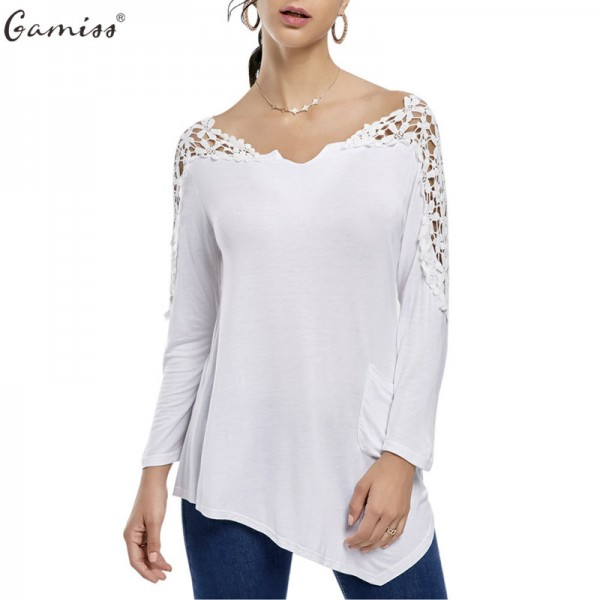 Gamiss Women Blouse Autumn Casual Lace Patchwork Crochet Insert Long Sleeve Shirt Asymmetric O Neck Loose Top Extra Image 1