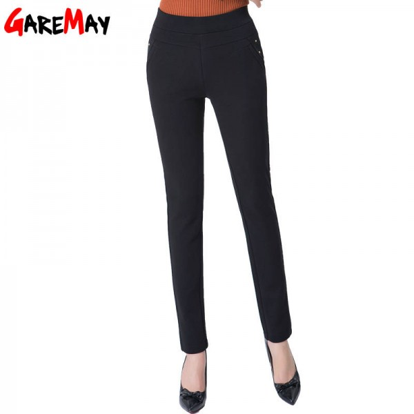 Garemay Warm Female Velvet Pants Pencil High Waist Stretch Elastic Trousers For Women Thumbnail