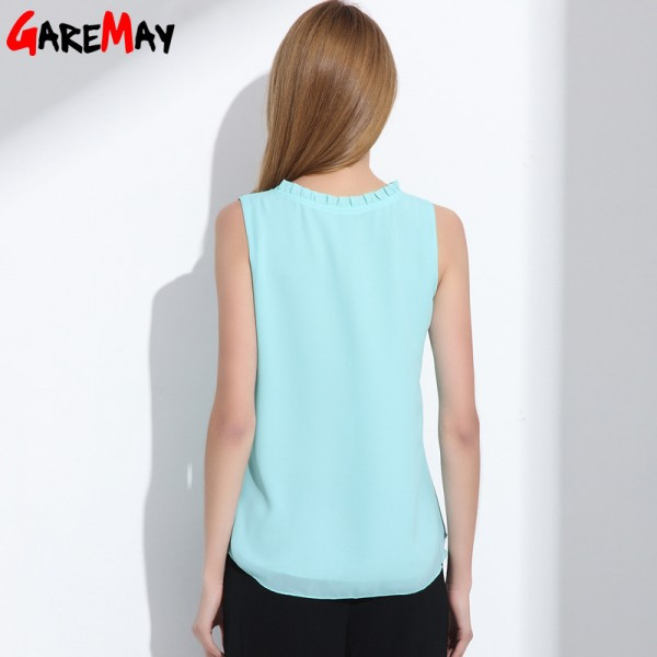 GAREMAY Women Chiffon Blouse Summer Sleeveless Camisa Candy Tops Femme Casual Fungus Collar Blusas Cheap Clothes Extra Image 2