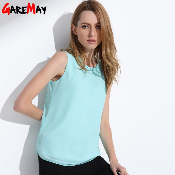 GAREMAY Women Chiffon Blouse Summer Sleeveless Camisa Candy Tops Femme Casual Fungus Collar Blusas Cheap Clothes Extra Image 3