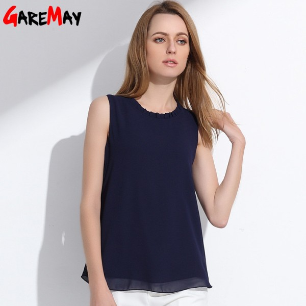 GAREMAY Women Chiffon Blouse Summer Sleeveless Camisa Candy Tops Femme Casual Fungus Collar Blusas Cheap Clothes Extra Image 4