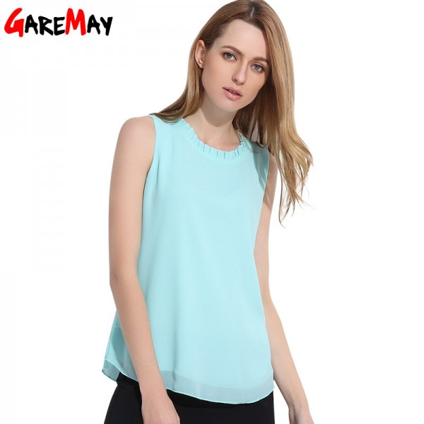 GAREMAY Women Chiffon Blouse Summer Sleeveless Camisa Candy Tops Femme Casual Fungus Collar Blusas Cheap Clothes Extra Image 5