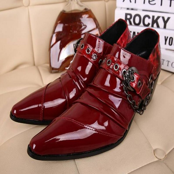 Gentlemen Luxury Red Patent Leather Pointed Tip Party Wedding Office For Men Thumbnail