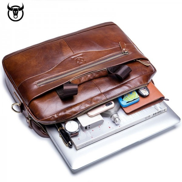 Genuine leather Briefcase for men vintage business computer bag fashion messenger bags shoulder bag postman Handbags Extra Image 2
