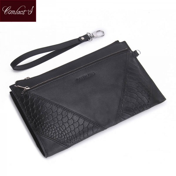 Genuine Leather Casual Clutch Handbag Purse For Women Cow Leather Phone Pocket Coin Bag Thumbnail