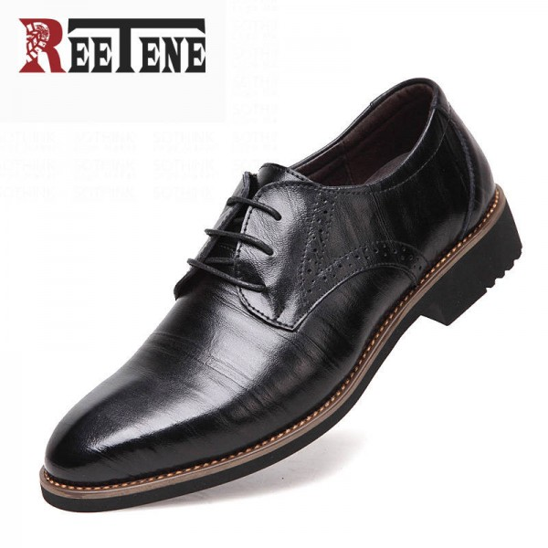 Genuine Leather Dress Shoes High Quality Oxford Lace Up Business For Men Thumbnail