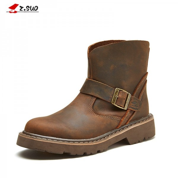 Genuine Leather Men Boots Vintage Motorcycle Boots Men Brown Top Quality Safety Shoes Leather Ankle Boots Extra Image 1