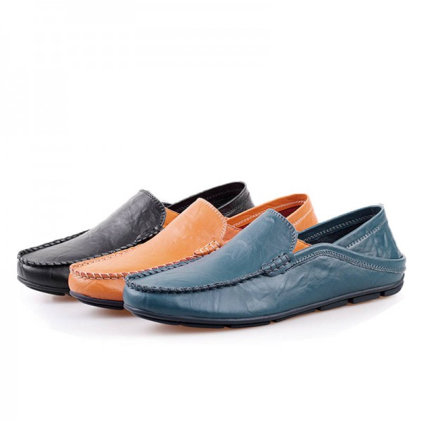 Genuine Leather Men Loafers Comfortable Casual Flat Fashion Shoes For Men Thumbnail