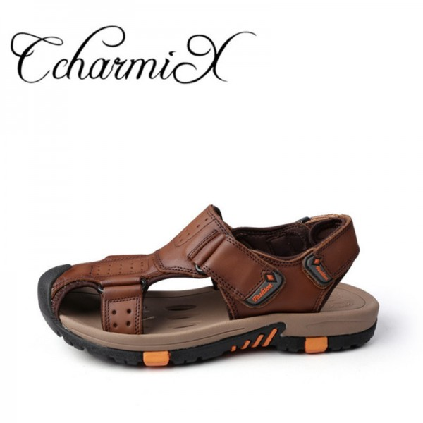 fa624284b ... Breathable Leather Mens Summer Sandals Non Slip Rubber Soles Beach Shoes  Plus  Dark Brown ...