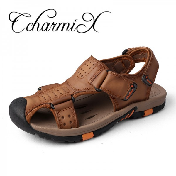Genuine leather Men Sandals Breathable Leather Mens Summer Sandals Non Slip Rubber Soles Beach Shoes Plus Size Extra Image 1