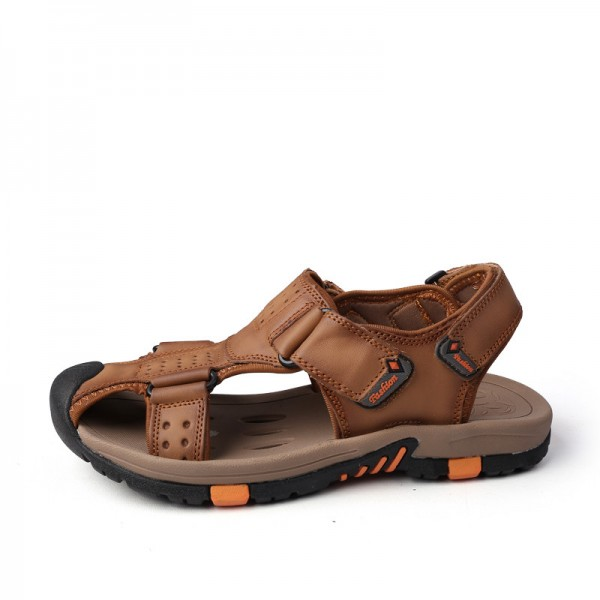 Genuine leather Men Sandals Breathable Leather Mens Summer Sandals Non Slip Rubber Soles Beach Shoes Plus Size Extra Image 2
