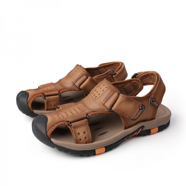 Genuine leather Men Sandals Breathable Leather Mens Summer Sandals Non Slip Rubber Soles Beach Shoes Plus Size Extra Image 4